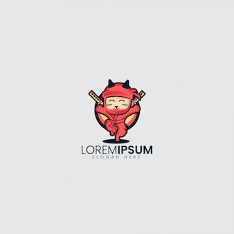 Logotipo lindo de litle ninja