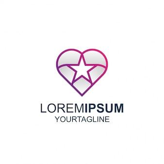 Logotipo de line art star love awesome inspiration