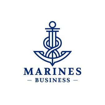 Logotipo de línea de anclaje abstracto