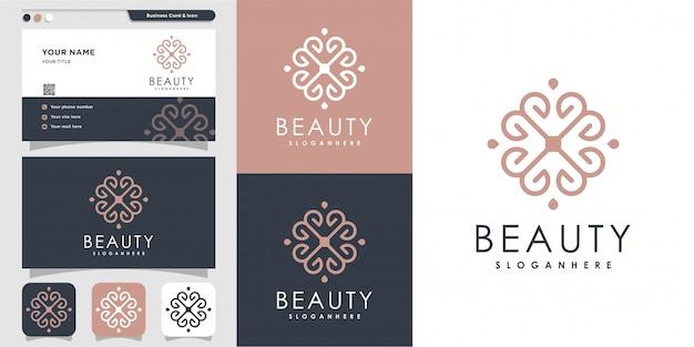 Logotipo de línea de belleza minimalista y plantilla de diseño de tarjeta de visita