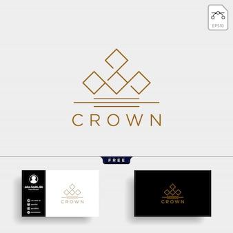 Logotipo de línea elegante corona