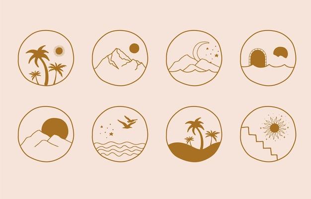 Logotipo de línea marrón mínima con sol, mar, montaña natural.