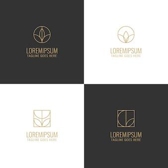 Logotipo de línea mínima de flores