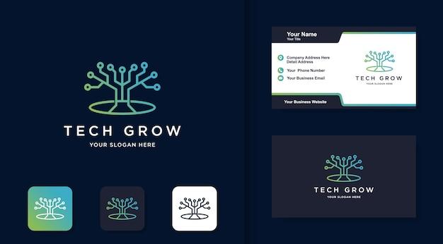 Logotipo de la línea de tecnología de árbol, con concepto de circuito y tarjeta de visita