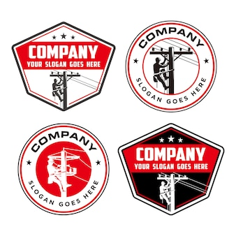 Logotipo de liniero, logotipo eléctrico de alto polo