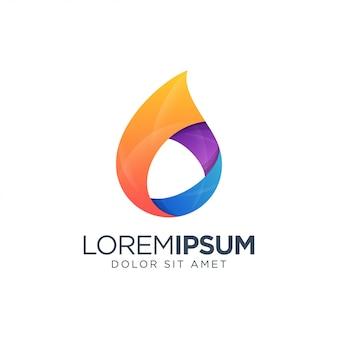 Logotipo de líquido naranja, azul, púrpura
