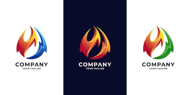 Logotipo de llama de fuego y energía.