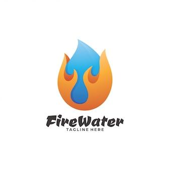 Logotipo de llama de fuego y gotas de agua