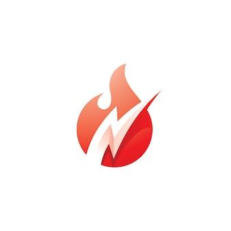 Logotipo de llama de fuego y relámpago