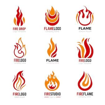 Logotipo de llama. símbolos gráficos de fuego ardiente para la colección de identidad empresarial. ilustración de logotipo de fuego y quemado, poder de icono de llama