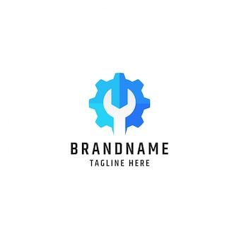 Logotipo de llave y engranaje. plantilla de diseño de herramientas de servicio y reparación