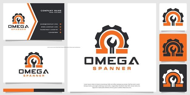 Logotipo de llave inglesa con símbolo omega