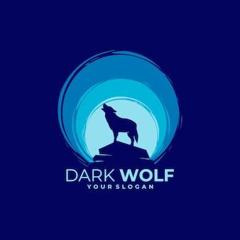 Logotipo de lobo en la noche