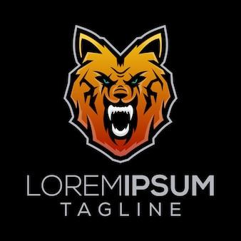 Logotipo de lobo salvaje en la noche