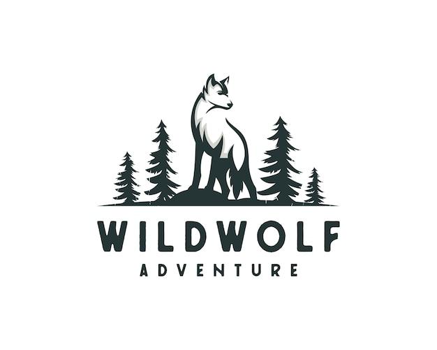 Logotipo de lobo de la selva, logotipo de cazador al aire libre