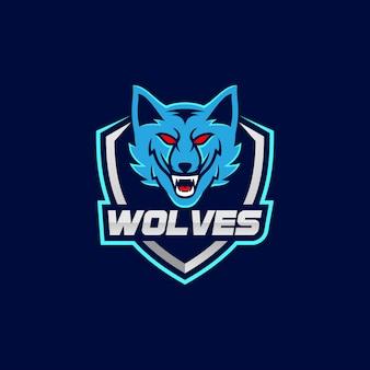 Logotipo de lobos mascota esport
