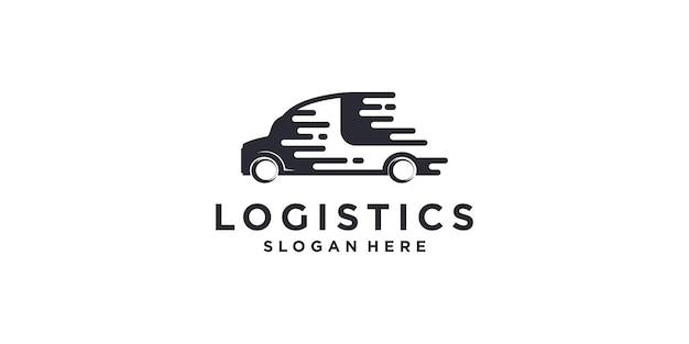 Logotipo de logística con elemento de coche rápido vector premium