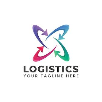 Logotipo de logística con forma de flecha círculo redondeado ilustración abstracta