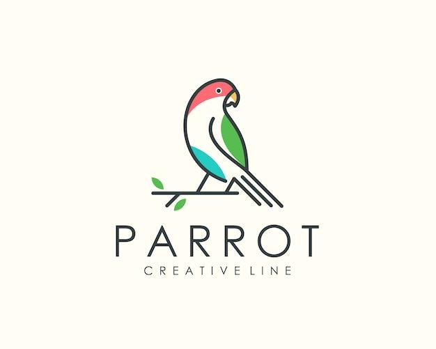 Logotipo de loro, arte lineal de animales