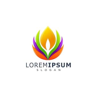 Logotipo de loto colorido