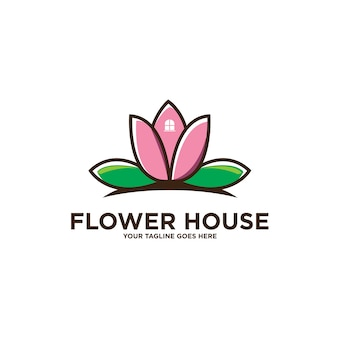 Logotipo de lotus flower house aislado en blanco