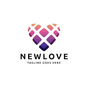 Logotipo de love heart squares
