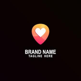 Logotipo de love pin awesome inspiration