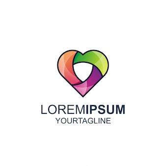 Logotipo de love shield line y color awesome inspiration