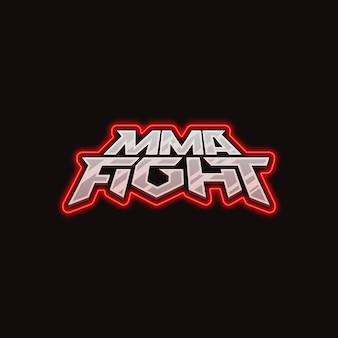 Logotipo de lucha de mma logotipo de vector de lucha de mezcla plantilla de logotipo brillante de neón