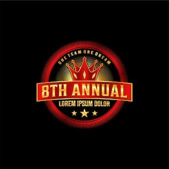 Logotipo de lujo de aniversario, elegante dorado y rojo