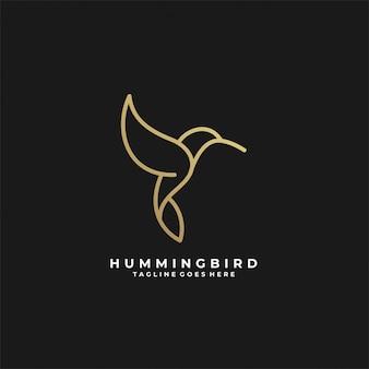 Logotipo de lujo de arte de línea de colibrí.