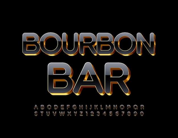 Logotipo de lujo bourbon bar black and gold elite font d brillante alfabeto letras y números conjunto
