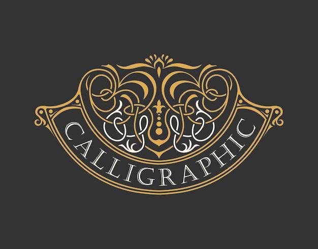 Logotipo de lujo caligráfico con adorno vintage