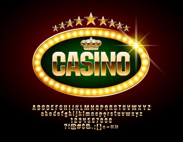 Logotipo de lujo para casino con fuente dorada. conjunto de símbolos, números y letras del alfabeto real