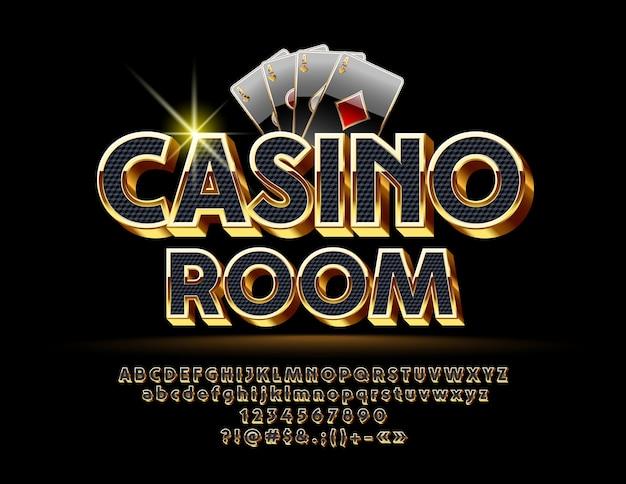 Logotipo de lujo para casino con fuente real. conjunto de símbolos, números y letras negras y doradas.