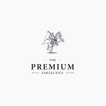 Logotipo de lujo clásico elegante guerrero real montando caballo