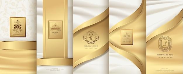 Logotipo de lujo y diseño de packaging dorado