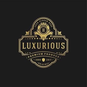 El logotipo de lujo del diseño de la plantilla del ejemplo del vector las viñetas victorianas el ornamento real forma para el diseño del logotipo o de la etiqueta.