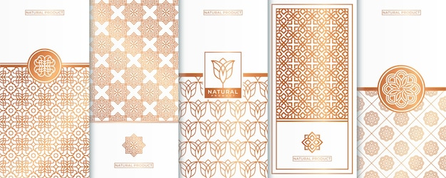 Logotipo de lujo dorado y diseño de envases, flor, naturaleza, floral, patrón