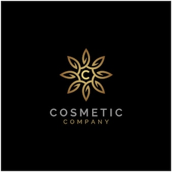 Logotipo de lujo elegante golden star flower mandala
