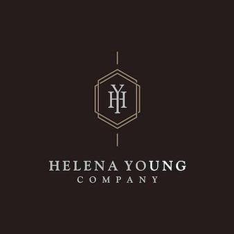Logotipo de lujo elegante inicial monograma