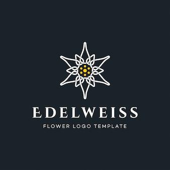 Logotipo de lujo de la flor de edelweiss