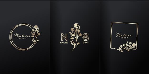Logotipo de lujo de flores de naturaleza boutique