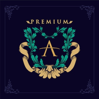 Logotipo de lujo de golden a monogram premium