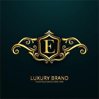 Logotipo de lujo de la letra e