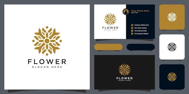 Logotipo de lujo de línea mono flor con diseño de tarjeta de visita