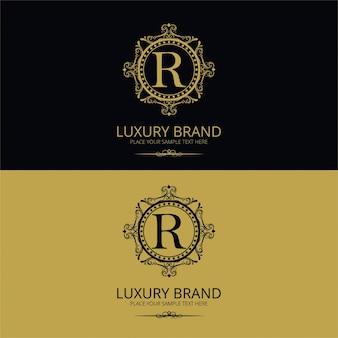 Logotipo de lujo ornamental de la letra r