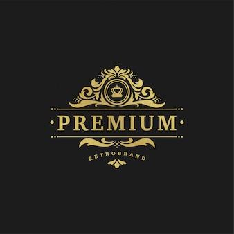 Logotipo de lujo plantilla diseño vector ilustración victoriana viñetas adornos.
