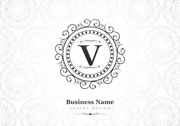 Logotipo de lujo premium letra v para empresa