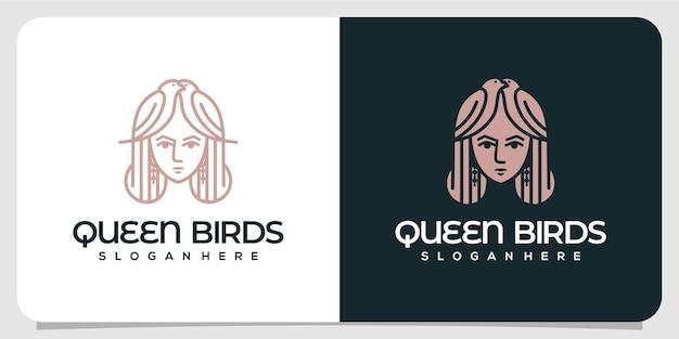 Logotipo de lujo de queen birds